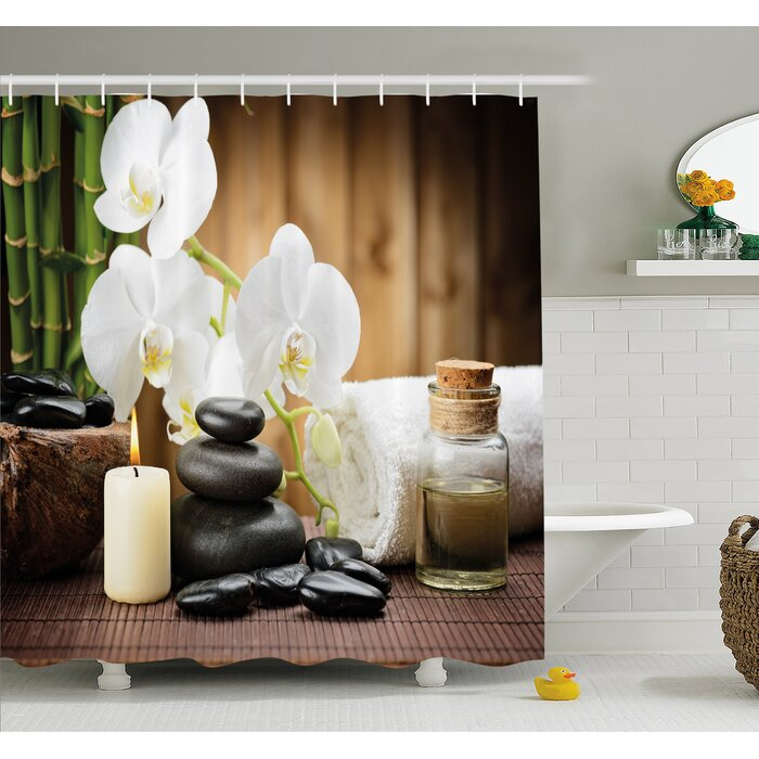 Spa Asian Style Decoration With Zen Stones Candle Flowers And Bamboo Shower  Curtain Set