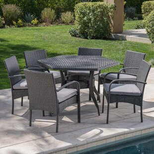 Winston Porter 7 Piece Dining Set with Cushions