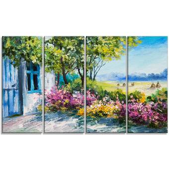 Designart House And Sea In The Fall Landscape 4 Piece Painting Print On Wrapped Canvas Set Wayfair