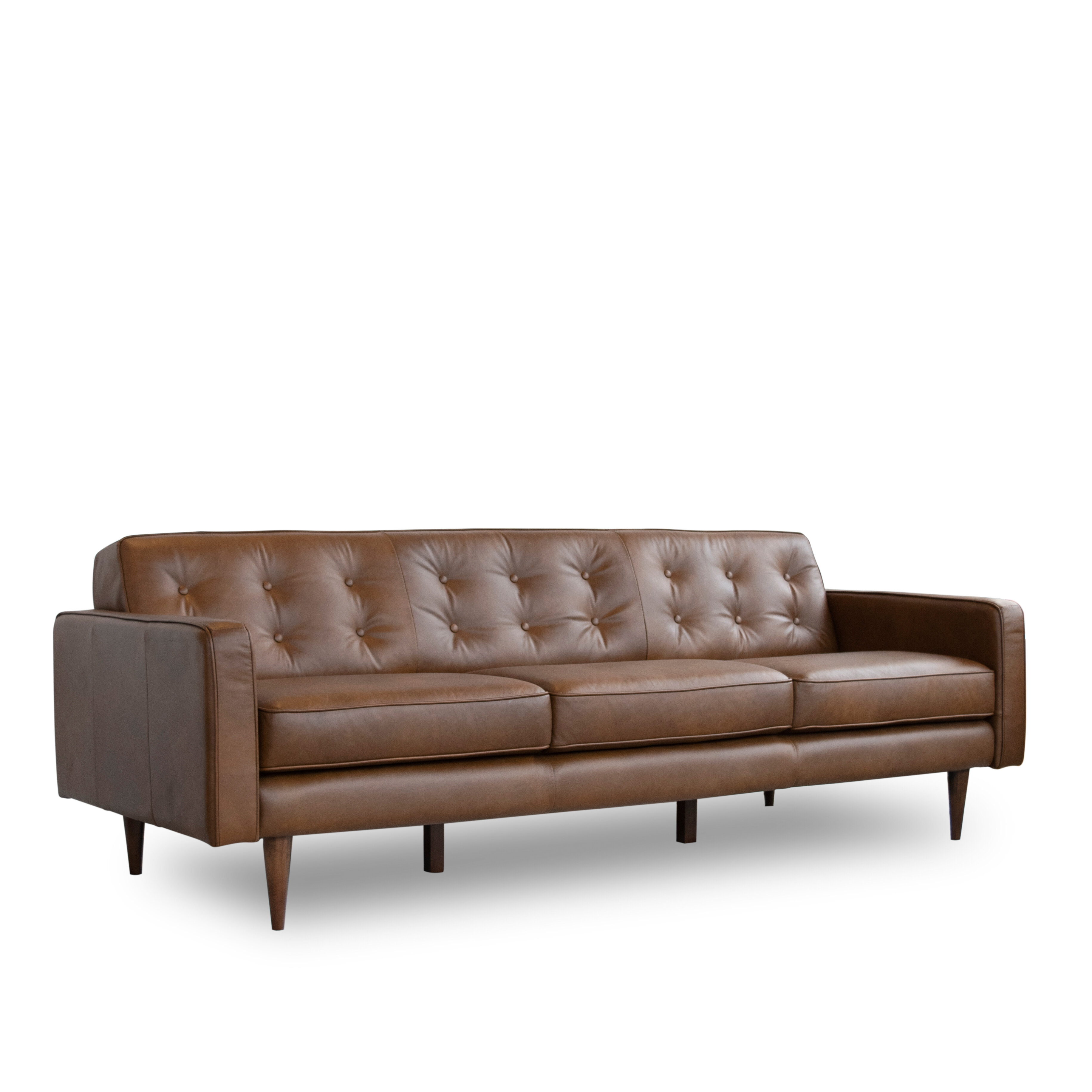 Cool Louane Mid Century Modern Leather Sofa Gmtry Best Dining Table And Chair Ideas Images Gmtryco