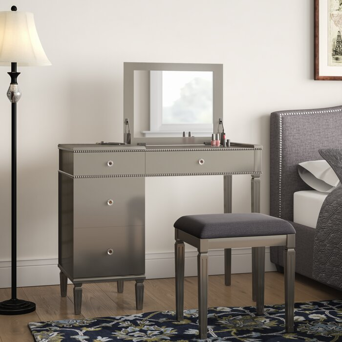 Swell Balamore Vanity Set With Stool And Mirror Ocoug Best Dining Table And Chair Ideas Images Ocougorg