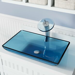 Purchase Glass Rectangular Vessel Bathroom Sink with Faucet ByMR Direct