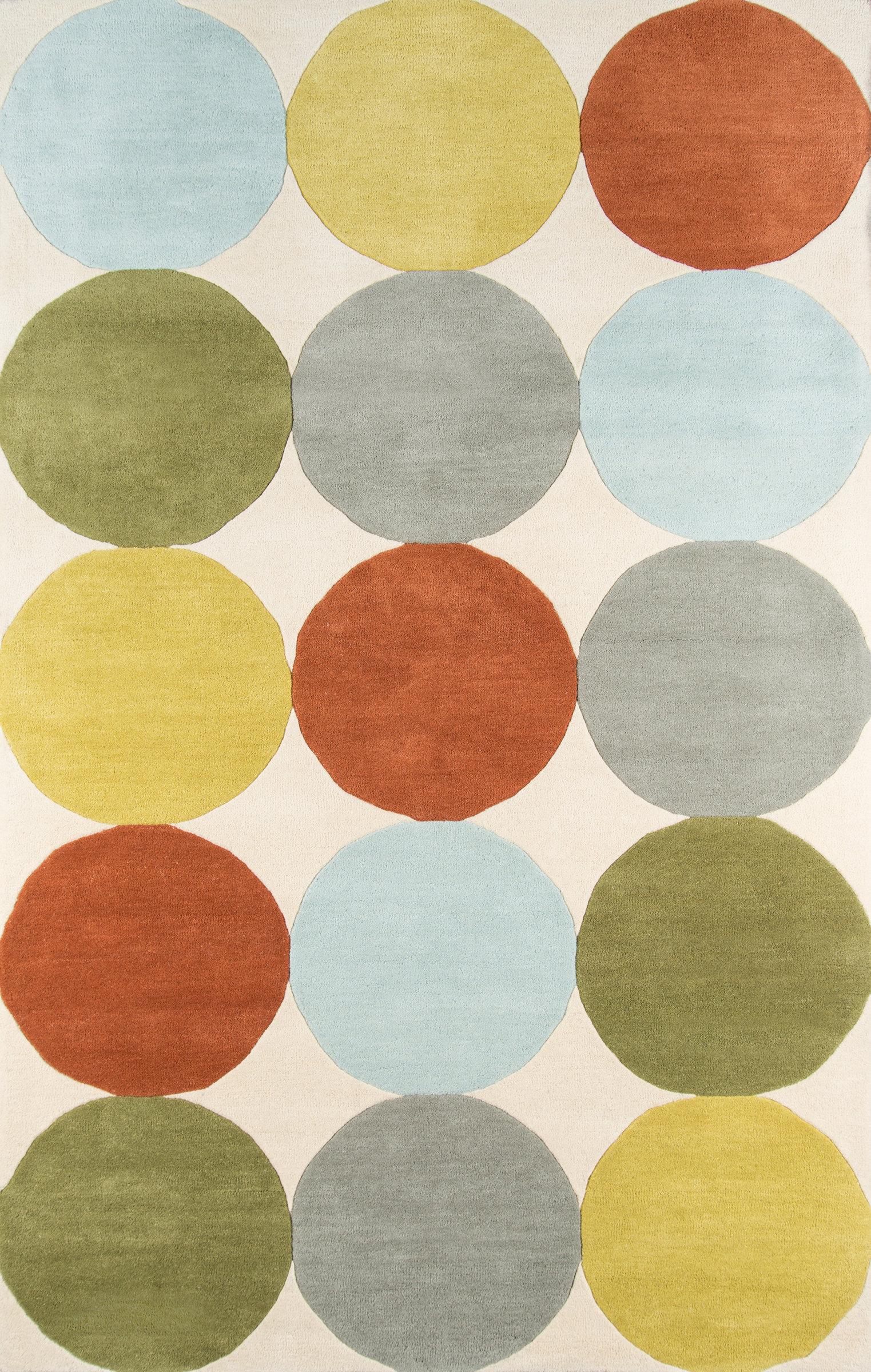 Novogratz Delmar Polka Dots Handmade Tufted Wool Green Gray Orange Area Rug Reviews Wayfair