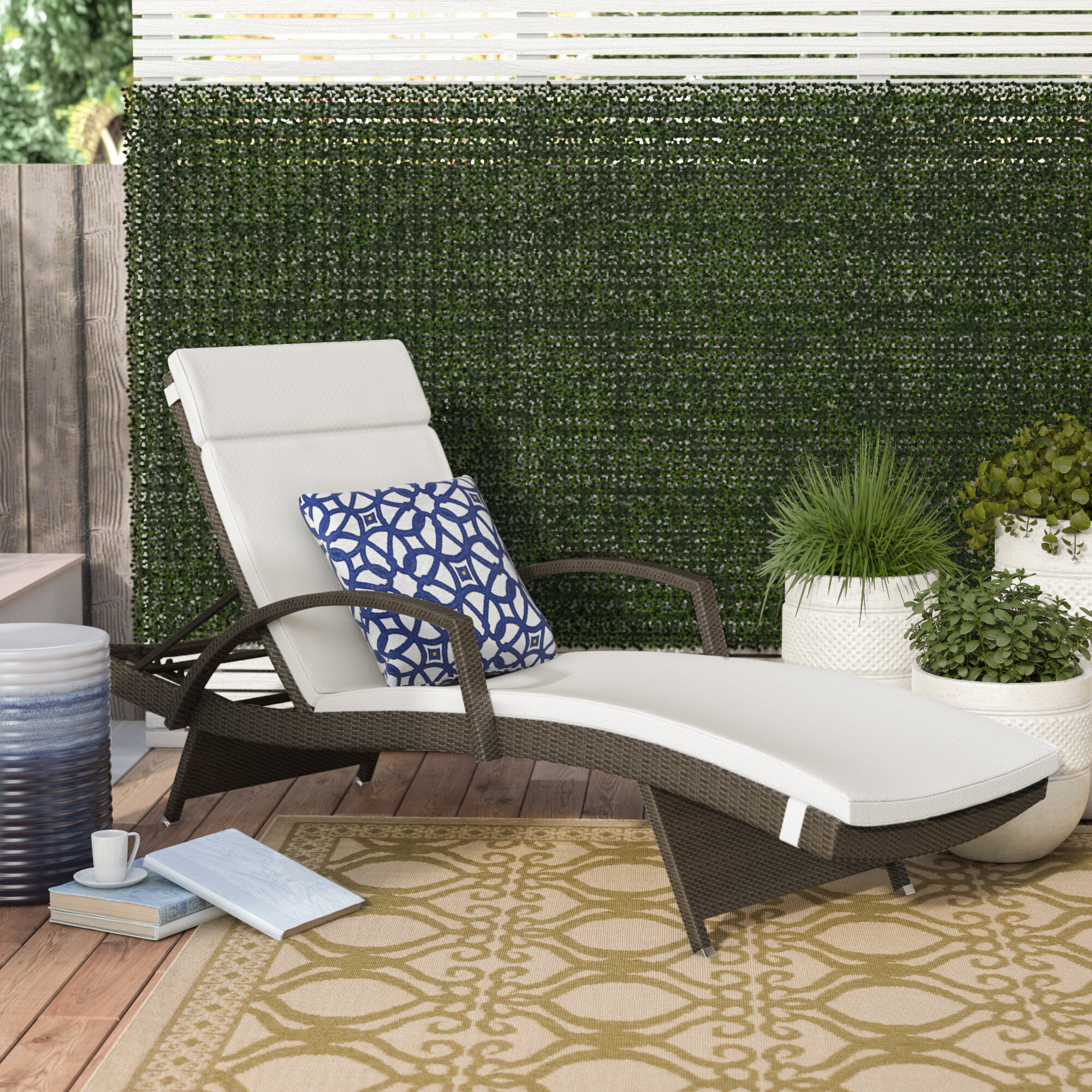 Three Posts Lenahan Reclining Chaise Lounge With Cushion U0026 Reviews | Wayfair