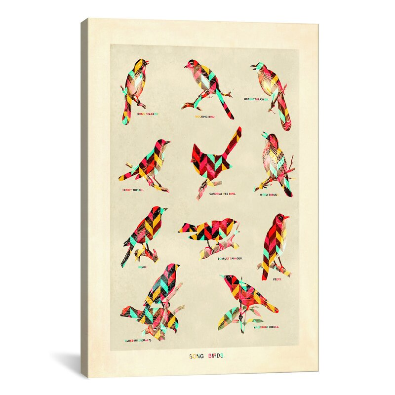East Urban Home Song Birds Graphic Art On Wrapped Canvas Wayfair