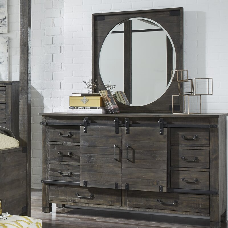 Sliding Door 8 Drawer Dresser With Mirror