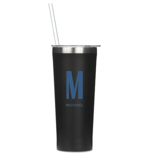 Stamp Personalized Custom Monogram 22 oz. Stainless Steel Travel Tumbler