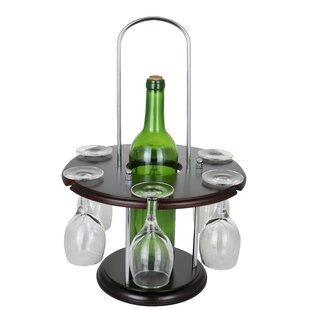 Wooden Round Glass Holder Display 1 Bottl..