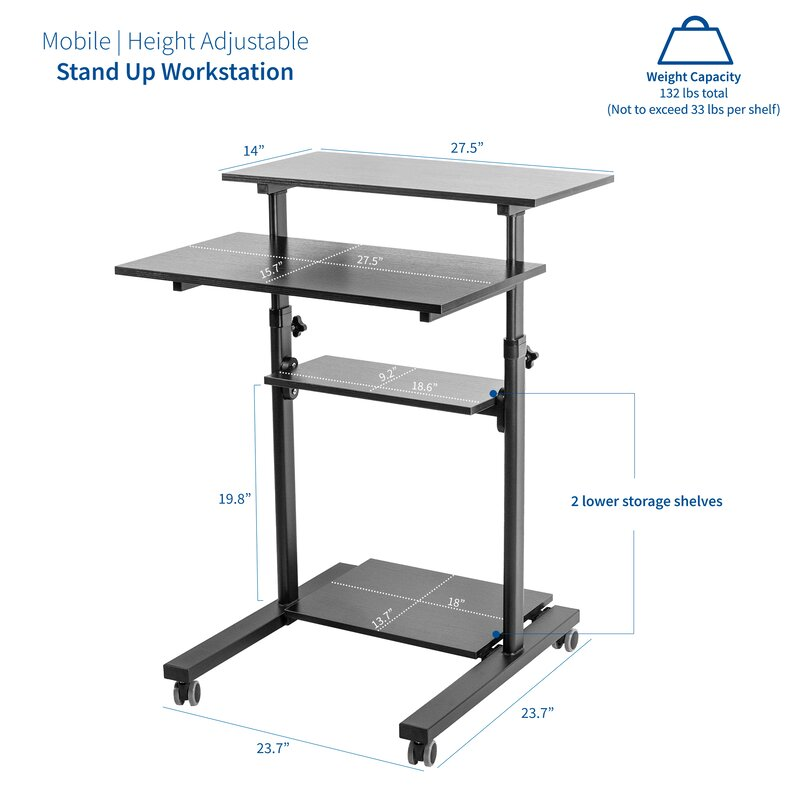 TechOrbits Mobile Standing Desk Computer Cart Laptop Trolley Stand Media Podium and Presentation cart Height Adjustable for Sitting or Standing