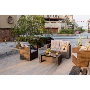 Red Barrel Studio Baptist 4 Piece Rattan Sofa Set with Cushions