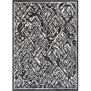 Buy clear Dority Classic Modern Abstract Dark Gray/White Area Rug By Ivy Bronx