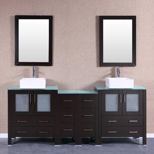 Chela 84 Double Bathroom Vanity Set with Mirror by Bosconi