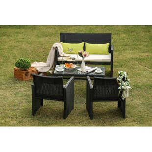 Pangle 4 Piece Wicker Patio Conversation Set with Cushions