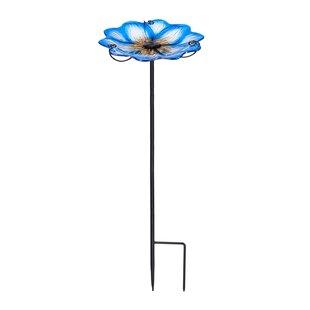 Evergreen Flag & Garden Bleu de France Flower on Stake Tray Bird Feeder