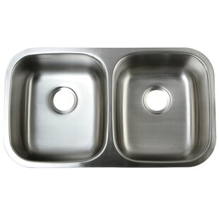 Review Loft 18.5 x 32.31 Gourmetier Undermount Double Bowl Kitchen Sink by Kingston Brass