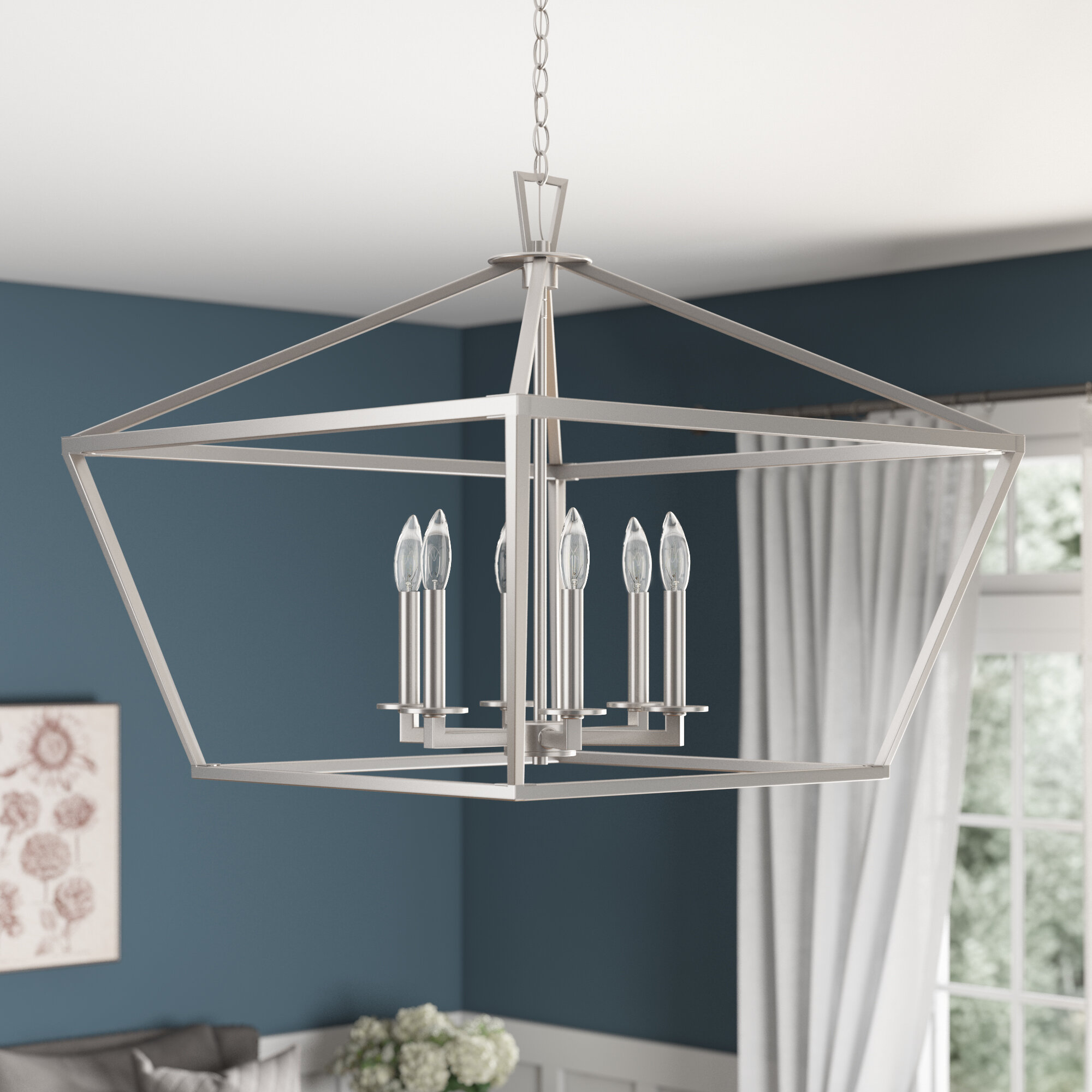Israel 6 Light Candle Style Geometric Chandelier Reviews Birch Lane