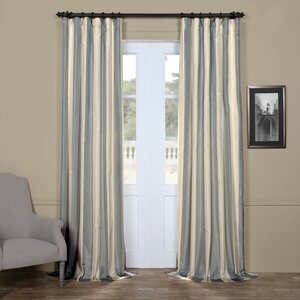 Ardnaglass Hampton Striped Faux Silk Taffeta Rod Pocket Single Curtain Panel