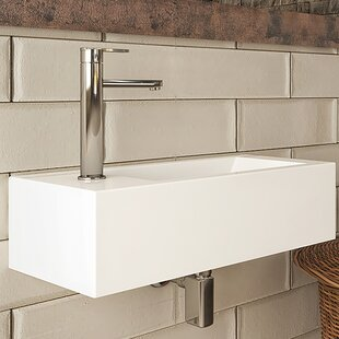 DECOLAV Eleni Classically Redefined Vitreous China Rectangular Wall Mount Bathroom Sink with Overflow