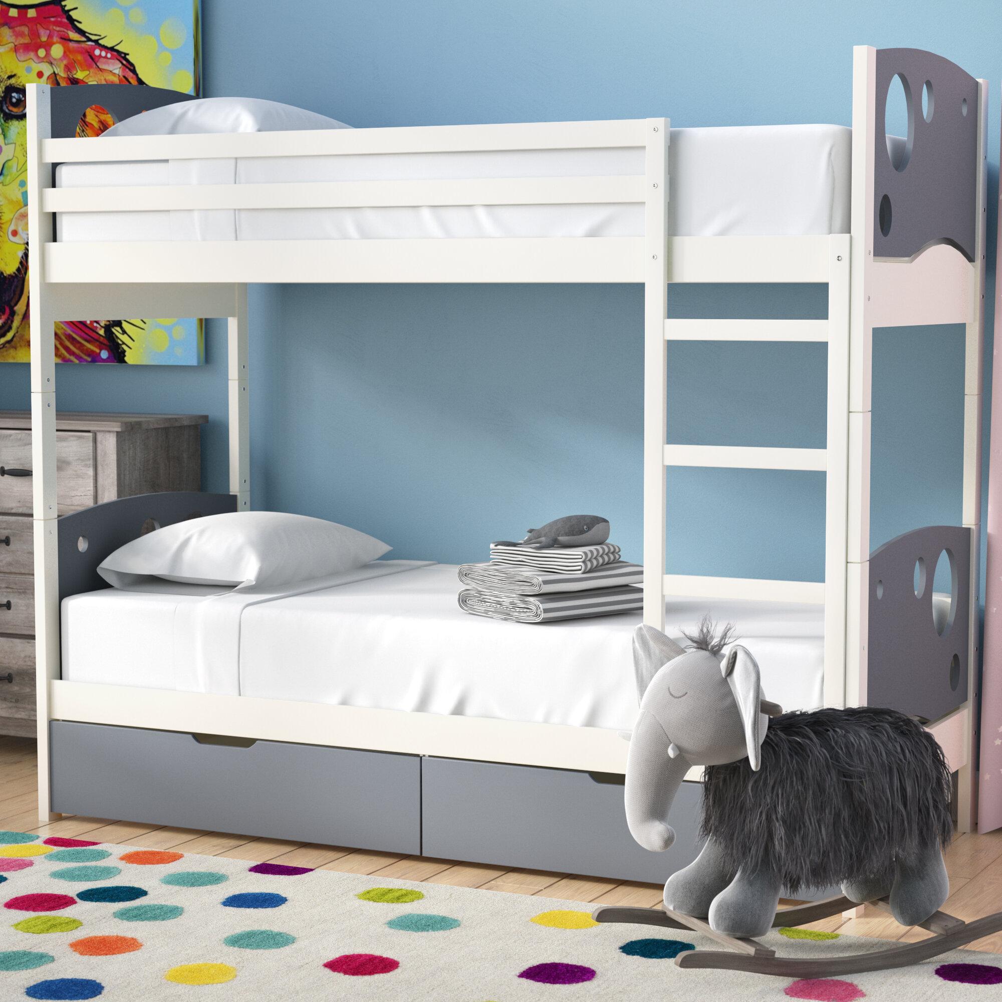 Image of: Mack Milo Dulcia Panel Toddler Bunk Bed With Mattress And Drawers Wayfair