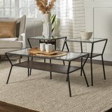 3-Piece Table Set - Modern Metal & Glass by Williston Forge