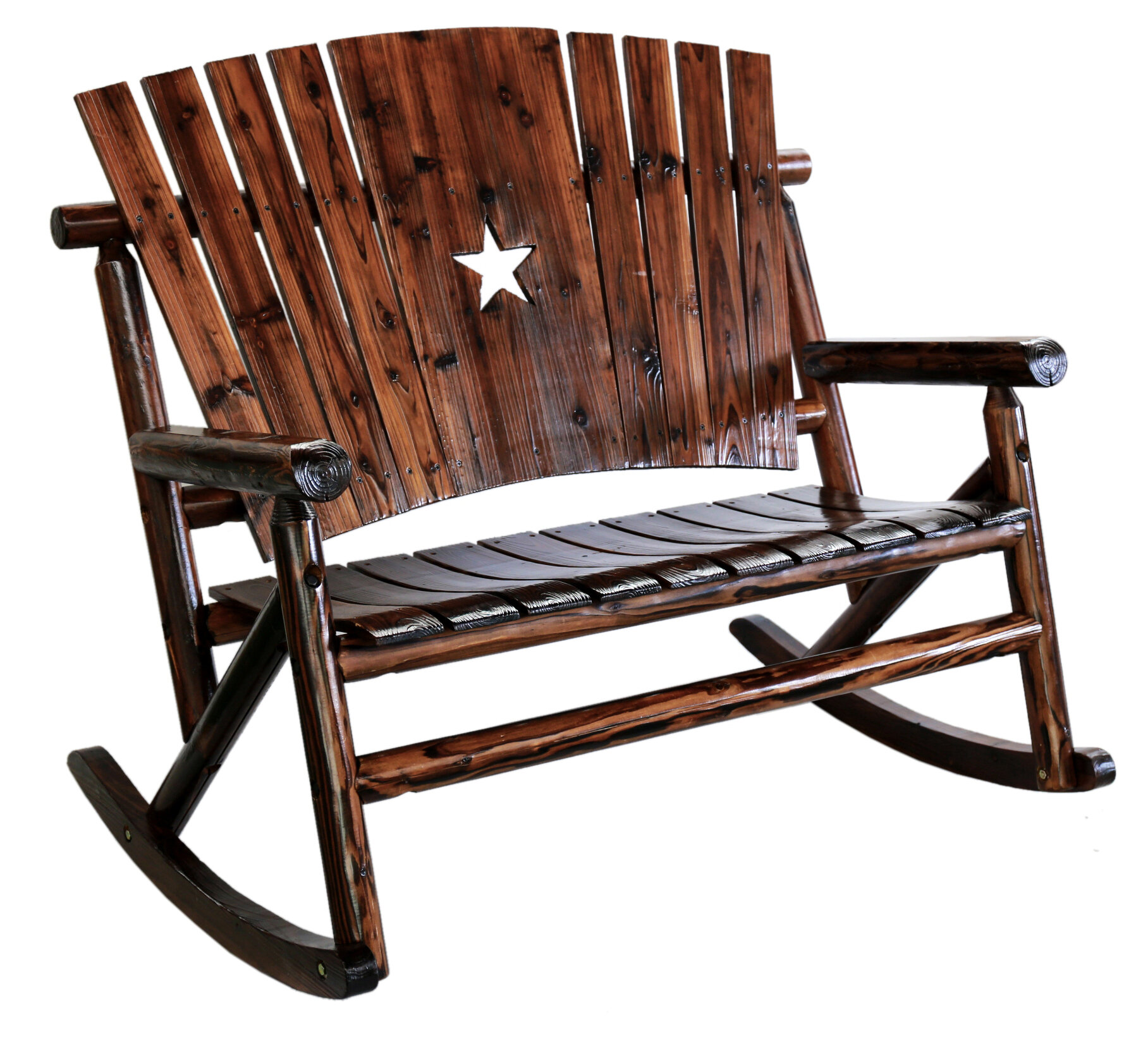 LeighCountry Char Log Star Double Rocking Chair II & Reviews