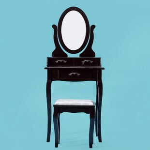 Renfroe Makeup Vanity Set with Mirror by Charlton Home