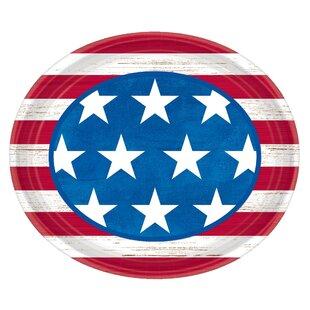 Patriotic Americana Paper Disposable Dinner Plate (Set of 18)