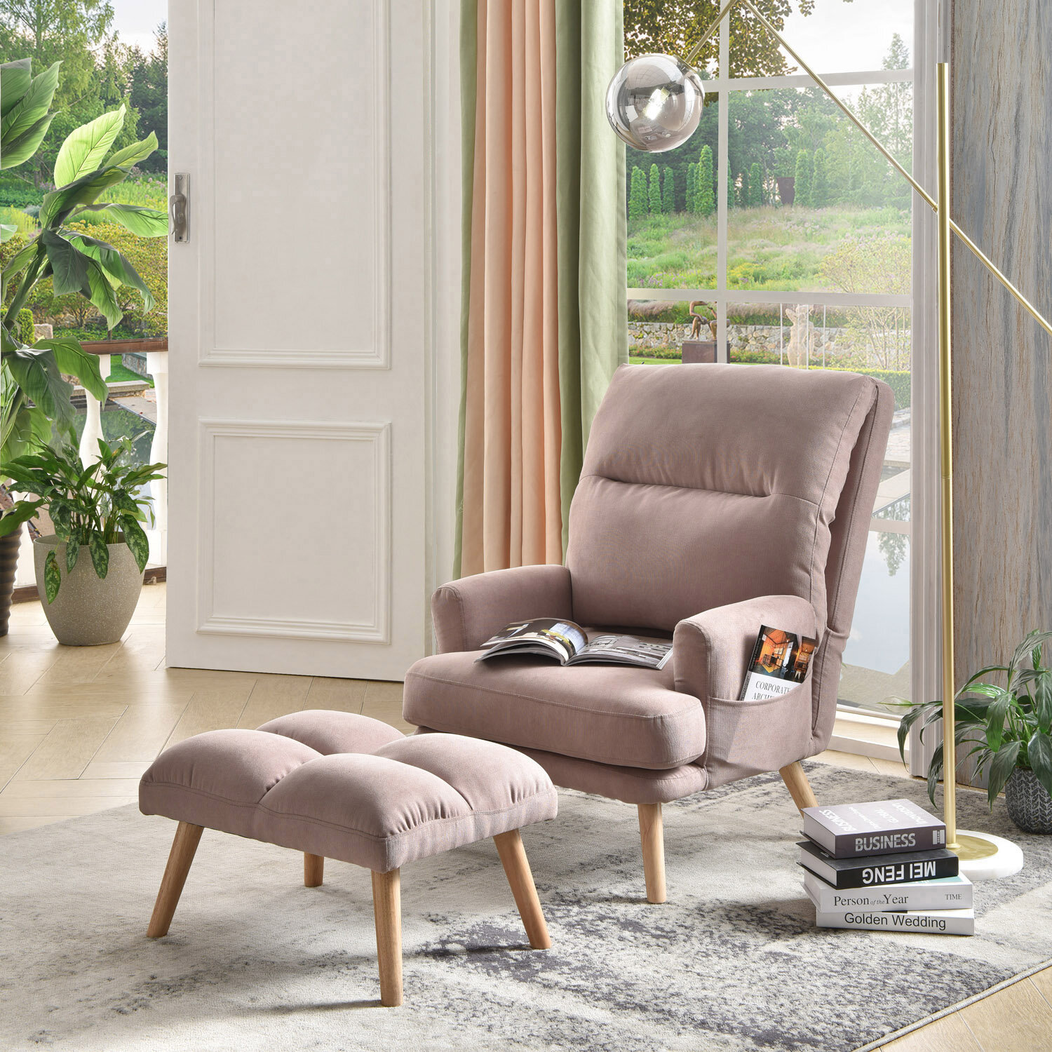"Corrigan Studio® Melo 29.52"" Wide Tufted Lounge Chair and Ottoman"