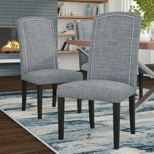 Nickel Cotton Parson Chair Set of 2 by Sole Designs