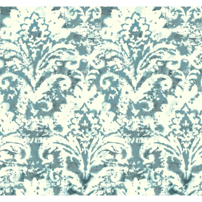 "Cloud Nine Batik Damask Removable 27' L x 27"" W Wallpaper Roll"