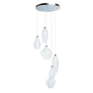 Hollister Modern Glass Dual Tone 6-Light LED Pendant by Orren Ellis