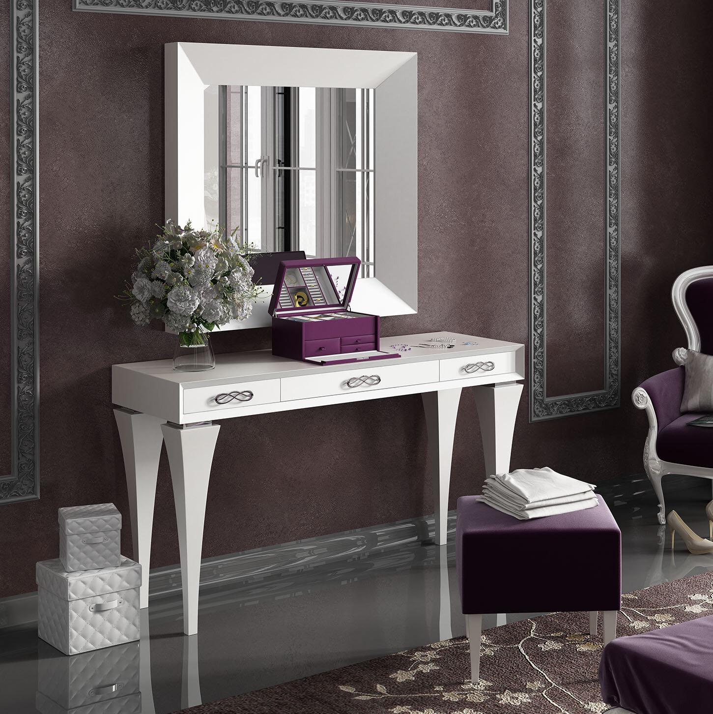 Image of: Everly Quinn Kirkwood Bedroom Makeup Solid Wood Vanity Set With Mirror Wayfair