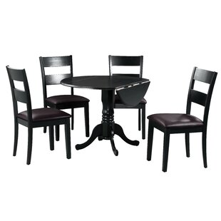 Brompton 5 Piece Drop Leaf Solid Wood Dining Set by Alcott Hill Bargain