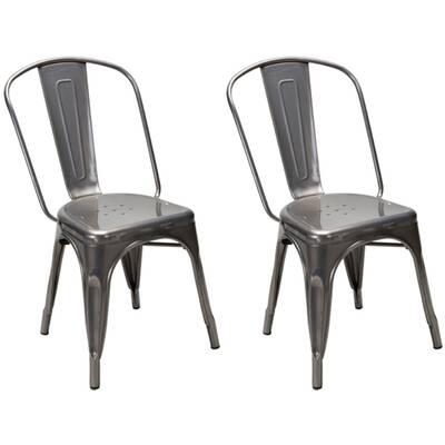 Xavier pauchard french industrial dining room furniture Modhaus Living Dunamoy Metal Dining Chair set Of 2 Amazoncom Williston Forge Cronan Industrial Chic Xavier Pauchard Tolix Style