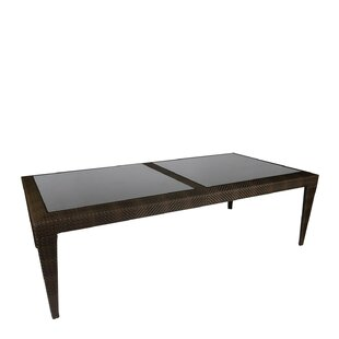 All-Weather Bali Rectangular Dining Table with Inset Glass