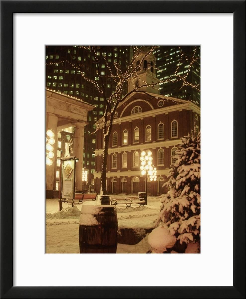 Winston Porter U0027Faneuil Hall At Christmas With Snow, Boston, MAu0027 Framed  Photographic Print U0026 Reviews | Wayfair