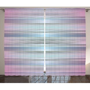 Condrey Modern Hazy Different Color Parallel Lines with Inner Zig Zag Geometric Figures Graphic Print & Text Semi-Sheer Rod Pocket Curtain Panels (Set of 2) by Latitude Run