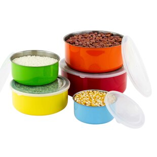 Delia 10 Piece Colorful Stainless Steel Mixing Bowl Set