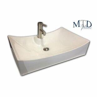 Best Ceramic Rectangular Vessel Bathroom Sink with Overflow ByMTD Vanities