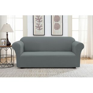 Solid Pique Box Cushion Sofa Slipcover
