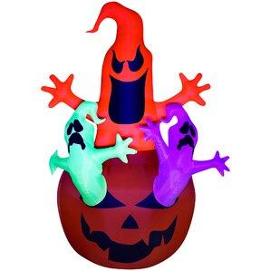 airblown pumpkin ghosts trio inflatable