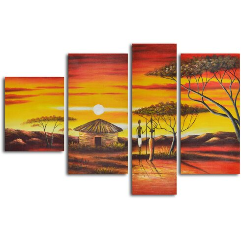 My Art Outlet African Homestead Sunset\' 4 Piece Painting on Wrapped ...