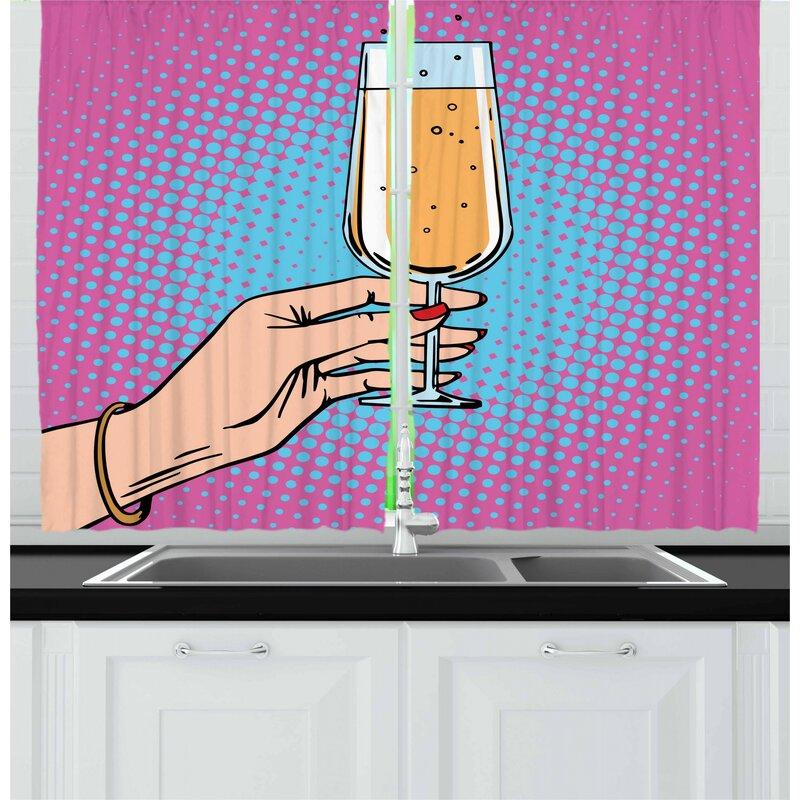 East Urban Home Alcohol 2 Piece Kitchen Curtain Set Wayfair