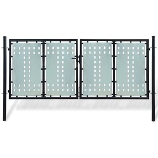 Courson 10' X 6' (3m X 1.75m) Metal Double Door Fence Gate By Sol 72 Outdoor
