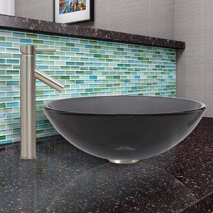 Sheer Glass Circular Vessel Bathroom Sink with Faucet VIGO