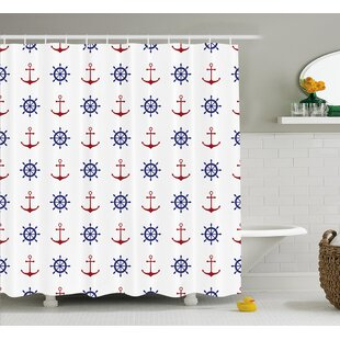 Compare prices Suzie Anchors and Ship Wheels Shower Curtain By Longshore Tides