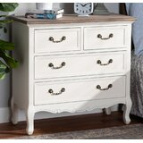 Alivia Antique French Country Cottage Two-Tone White And Oak Finished 4-Drawer Accent Bachelor's Chest by One Allium Way®