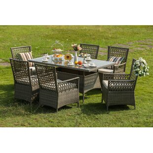 One Allium Way Horvath 7 Piece Dining Set with Cushions