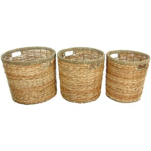 Oriental Furniture Rush Grass Waste Basket (Set of 3)