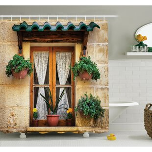 Savings Old Window and Flowers Shower Curtain Set ByAmbesonne